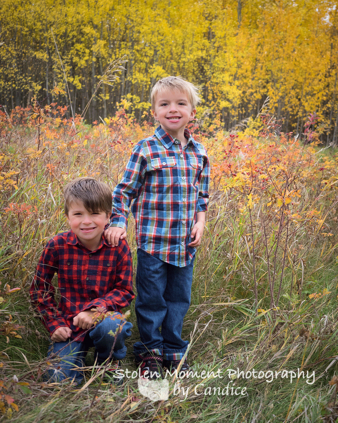 two brothers in the fall foliage