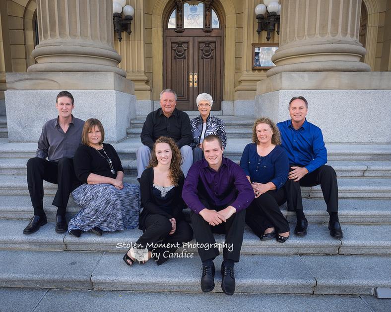large family on front steps of Alberta Legislative Building