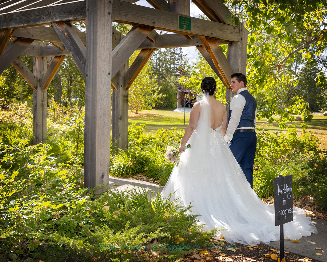 a beautiful couple are married at the amazing Leduc Stone Barn