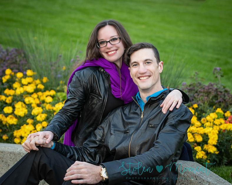 Engaged couple at the Alberta Legislature Grounds