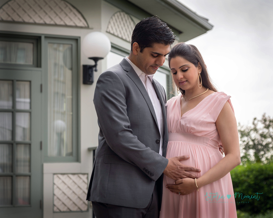 a beautiful couple photographed for the maternity session along with photos of the fun at the Baby Shower following the session at the Fairmont hotel MacDonald