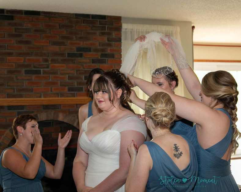 A bride and groom celebrate their marriage in Morinville and St. Albert