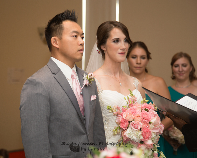 Bride and groom at front of church