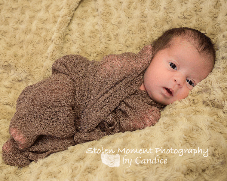 bright eyed newborn girl wrapped in cloth