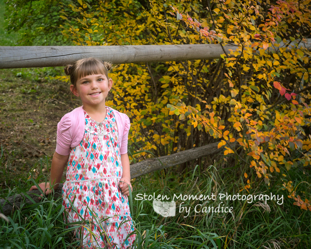 Little girl standing at rustic fence
