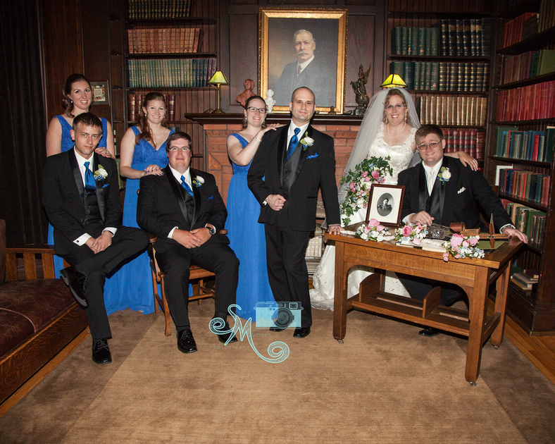 wedding party inside Rutherford house library