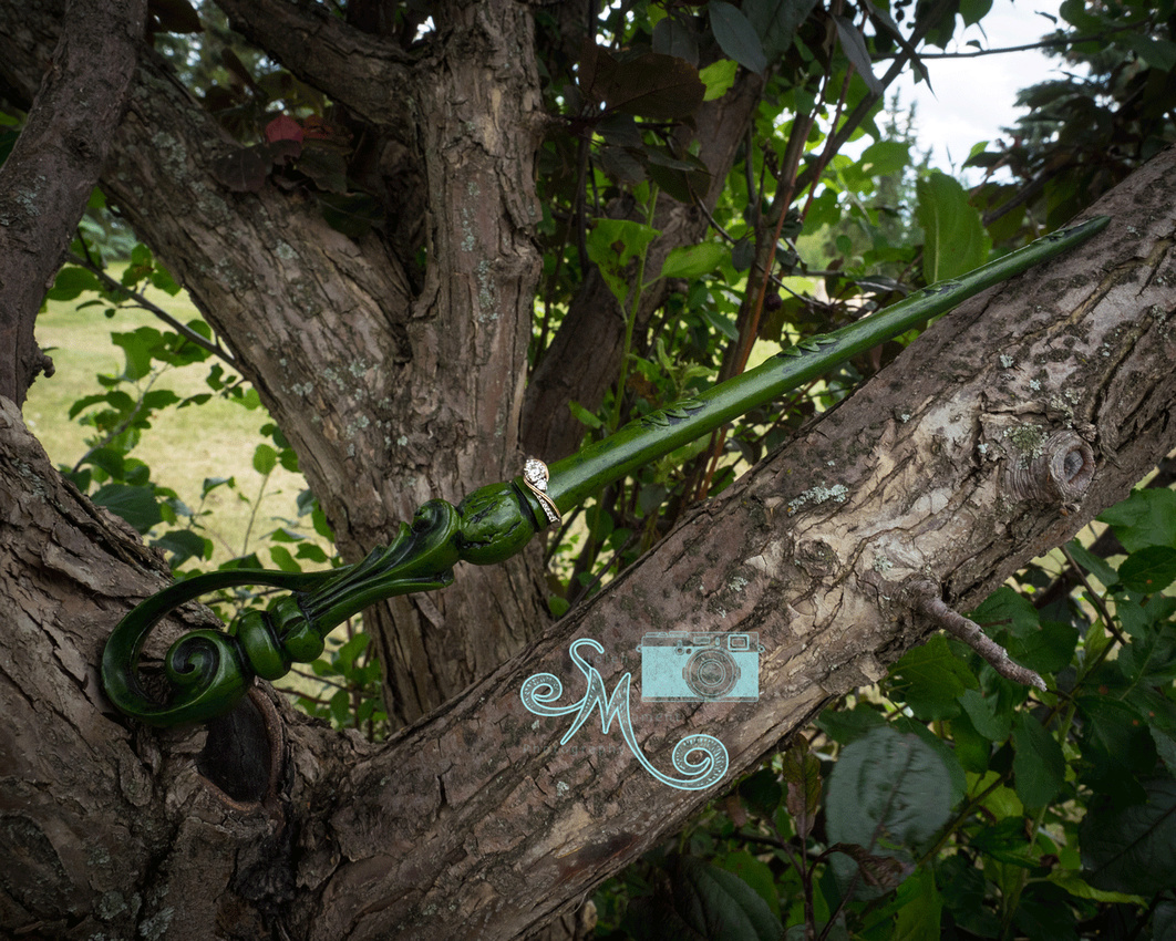 Harry potter wand in a tree with ring on it