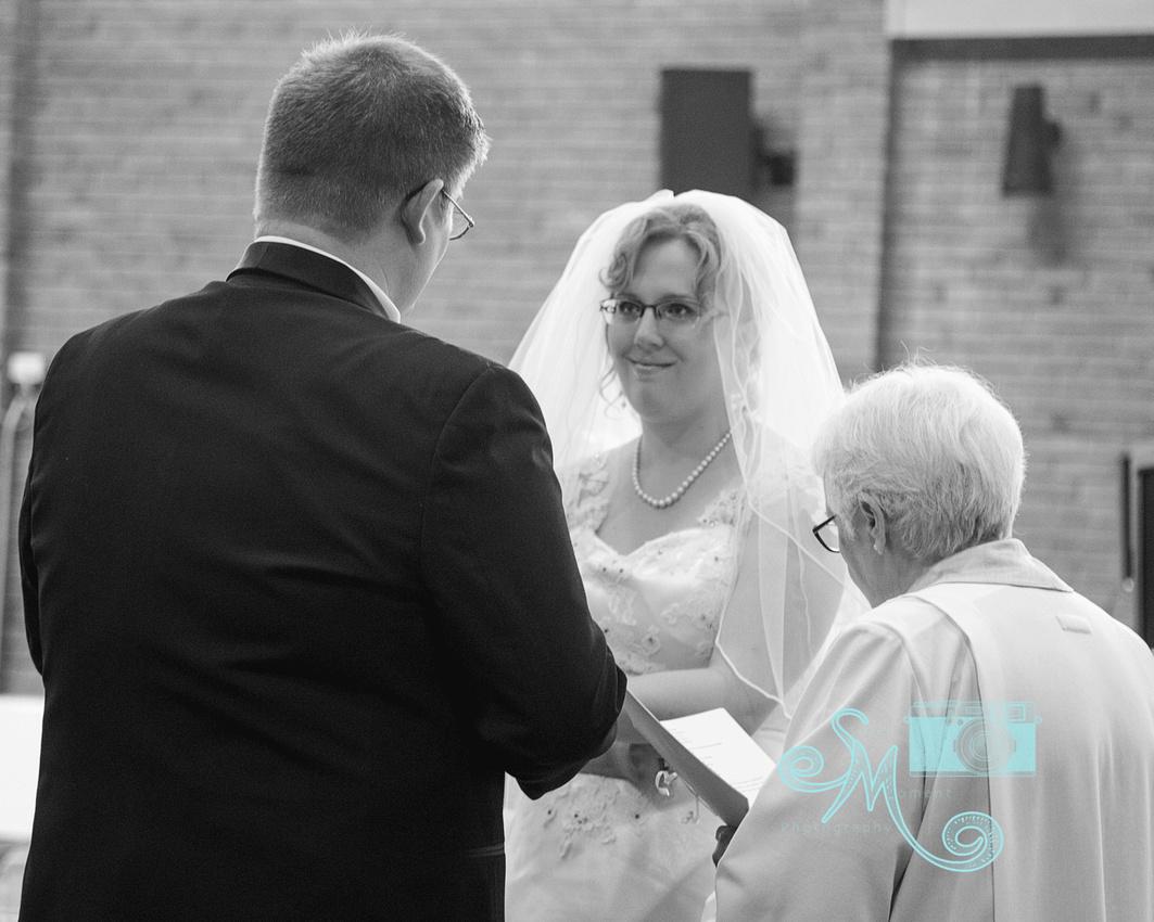 bride looking at groom during vows