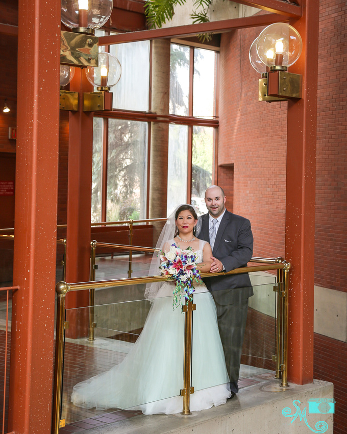 the bride and groom at the citadel Lee Pavilion