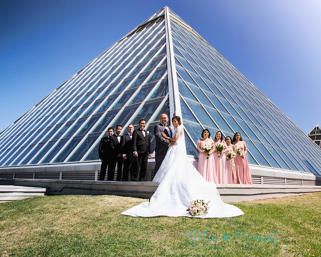 the wedding party stand in front of one of the pyramids at the Muttart conservatory with groomsmen on one side and bridesmaids on the other, with bride and groom in the centre lined up with the angle of the pyramid.