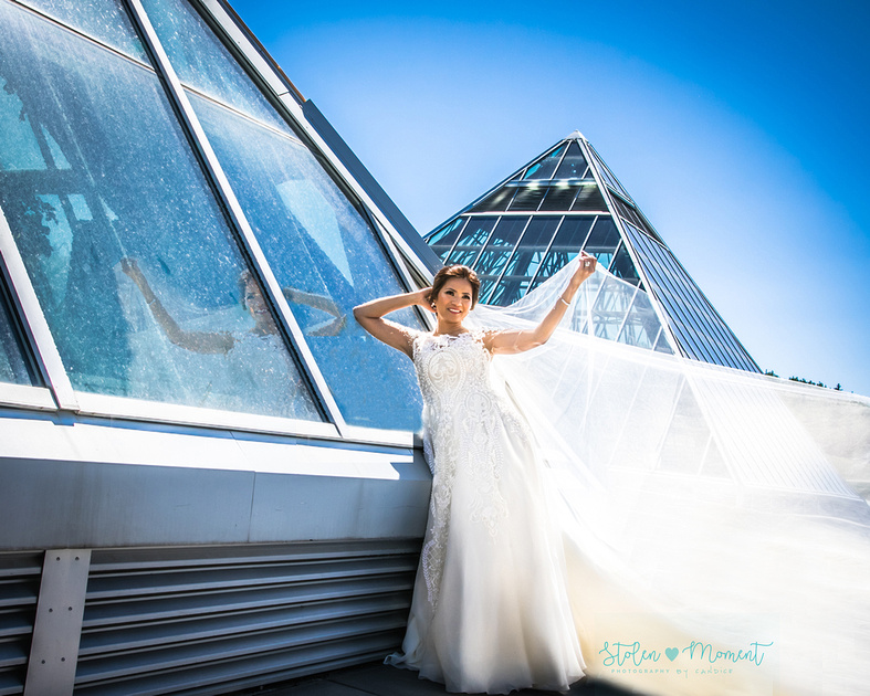 The stunning bride leans against one of the pyramids at the Muttart Conservatory while her veil and train flow out beside her and her refection can be seen in the pyramid