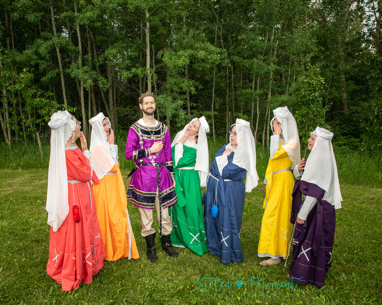 """the six maids """"swoon"""" over the groom who stands regally among them - all dressed in medieval garb"""