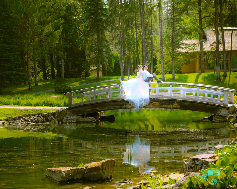 the bride and groom sit on the railing of the bridge at the pond in the Japanese Gardens