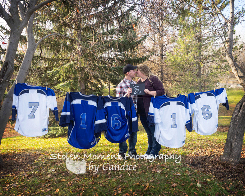 save the date shot with ringette jerseys