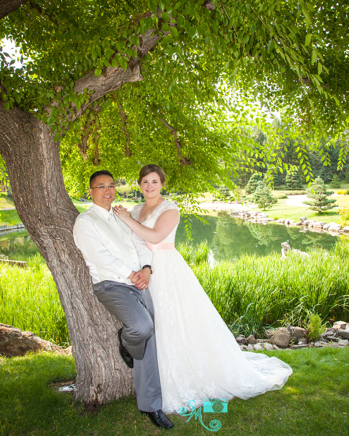 the bride and groom pose at a tree in front of the lake at the Japanese garden