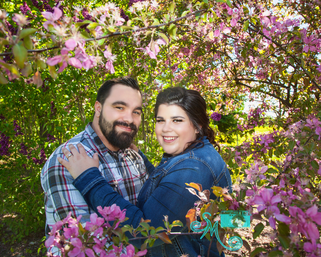 a man and woman cuddle while framed in pink blossoms